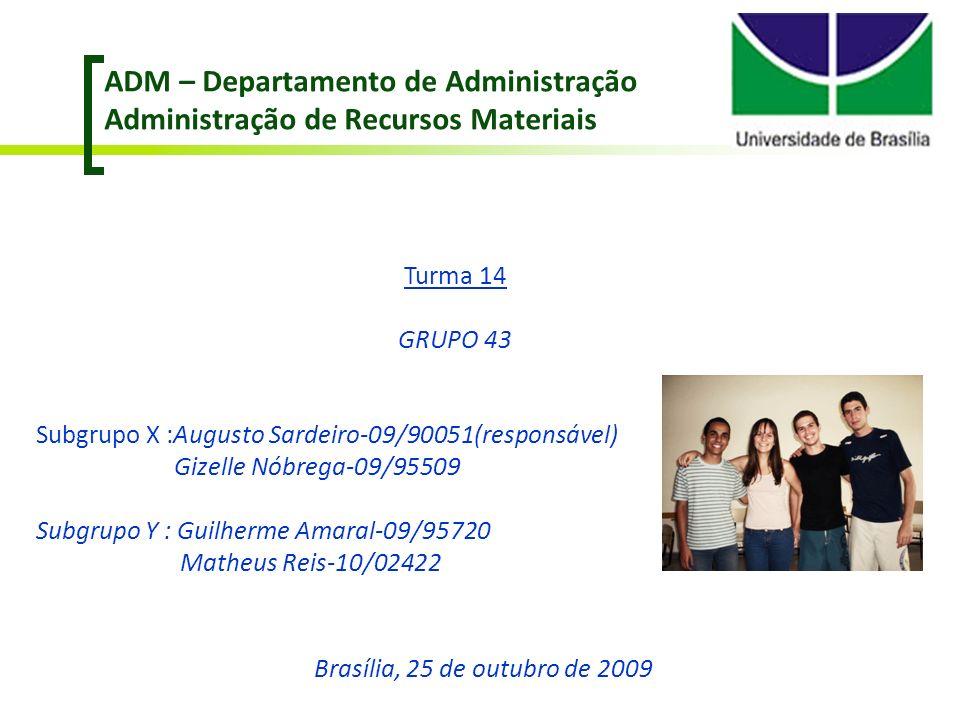 ADM – Departamento de Administração Administração de Recursos Materiais Turma 14 GRUPO 43 Subgrupo X :Augusto Sardeiro-09/90051(responsável) Gizelle N