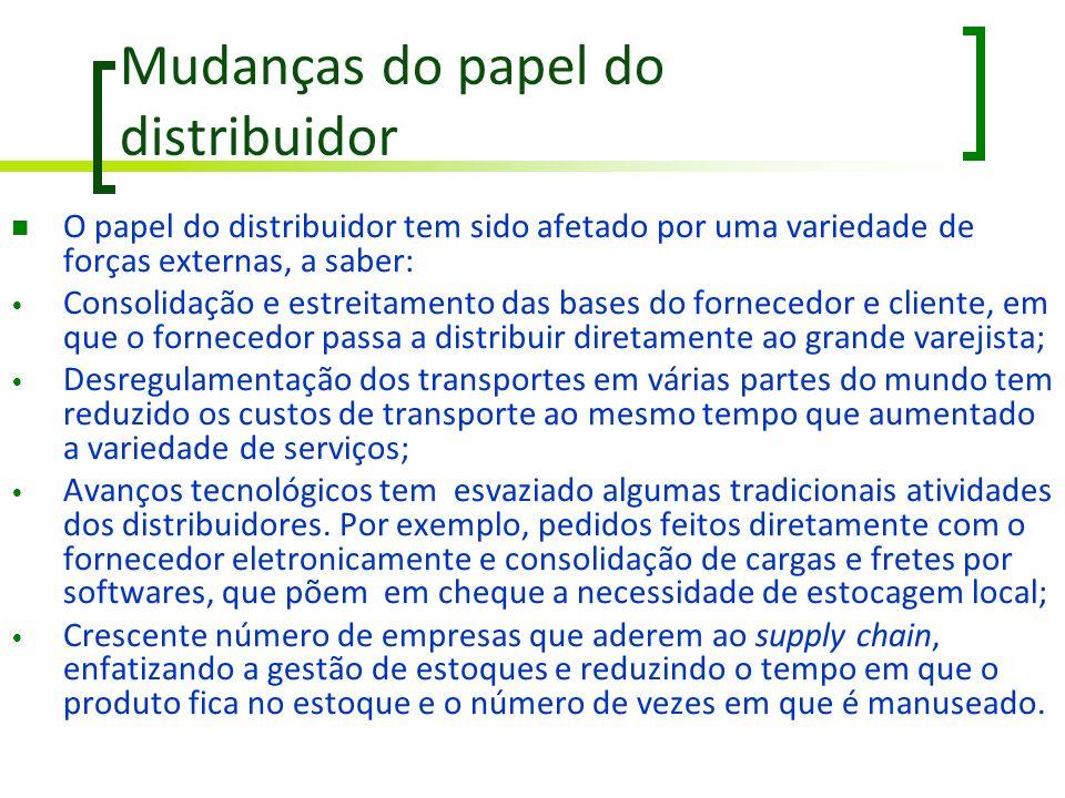 Mudanças do papel do distribuidor O papel do distribuidor tem sido afetado por uma variedade de forças externas, a saber: Consolidação e estreitamento