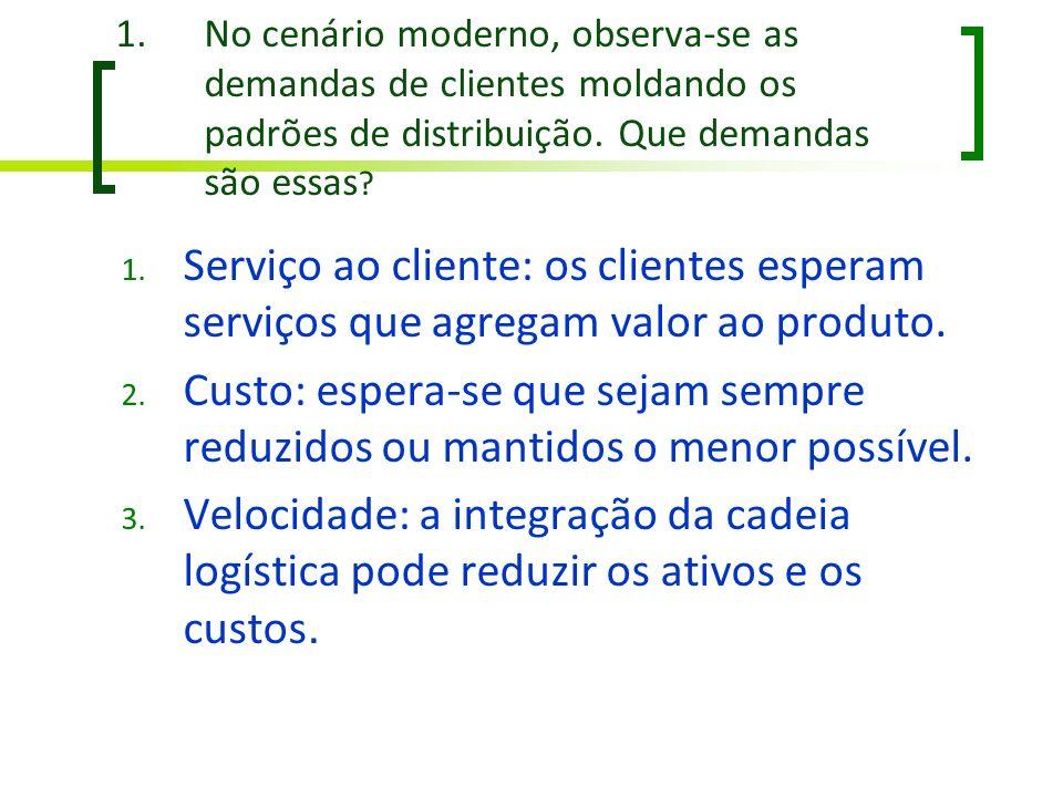 1.No cenário moderno, observa-se as demandas de clientes moldando os padrões de distribuição. Que demandas são essas ? 1. Serviço ao cliente: os clien