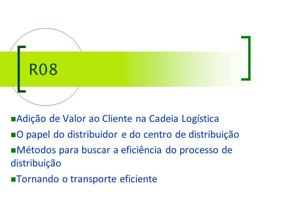R08 Adição de Valor ao Cliente na Cadeia Logística O papel do distribuidor e do centro de distribuição Métodos para buscar a eficiência do processo de