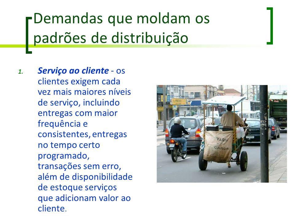 Demandas que moldam os padrões de distribuição 1. Serviço ao cliente - os clientes exigem cada vez mais maiores níveis de serviço, incluindo entregas