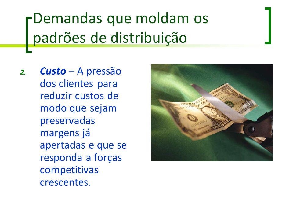 Demandas que moldam os padrões de distribuição 2. Custo – A pressão dos clientes para reduzir custos de modo que sejam preservadas margens já apertada