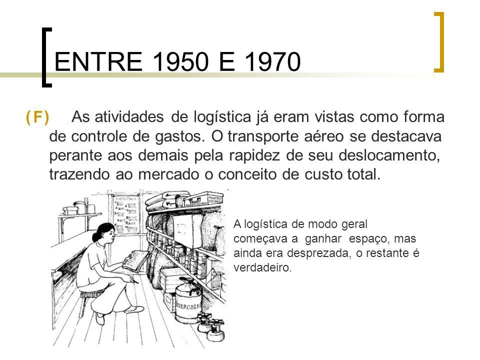 ENTRE 1950 E 1970 ( ) As atividades de logística já eram vistas como forma de controle de gastos. O transporte aéreo se destacava perante aos demais p