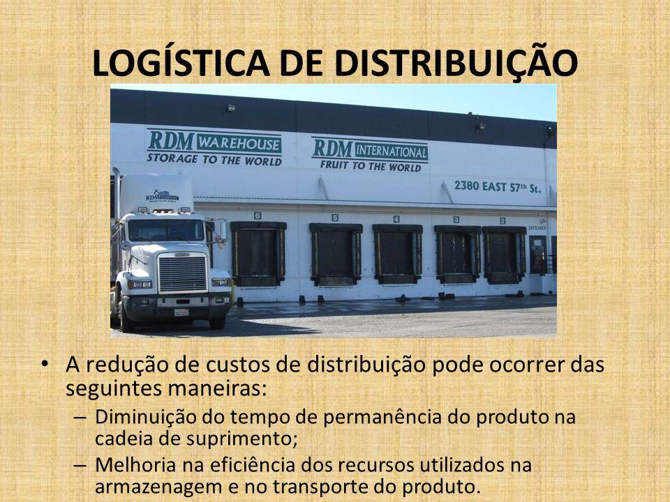 LOGÍSTICA DE DISTRIBUIÇÃO A redução de custos de distribuição pode ocorrer das seguintes maneiras: – Diminuição do tempo de permanência do produto na
