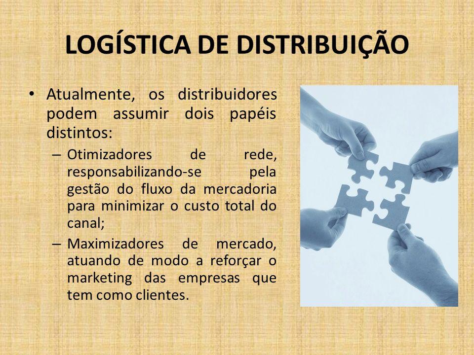 LOGÍSTICA DE DISTRIBUIÇÃO Atualmente, os distribuidores podem assumir dois papéis distintos: – Otimizadores de rede, responsabilizando-se pela gestão