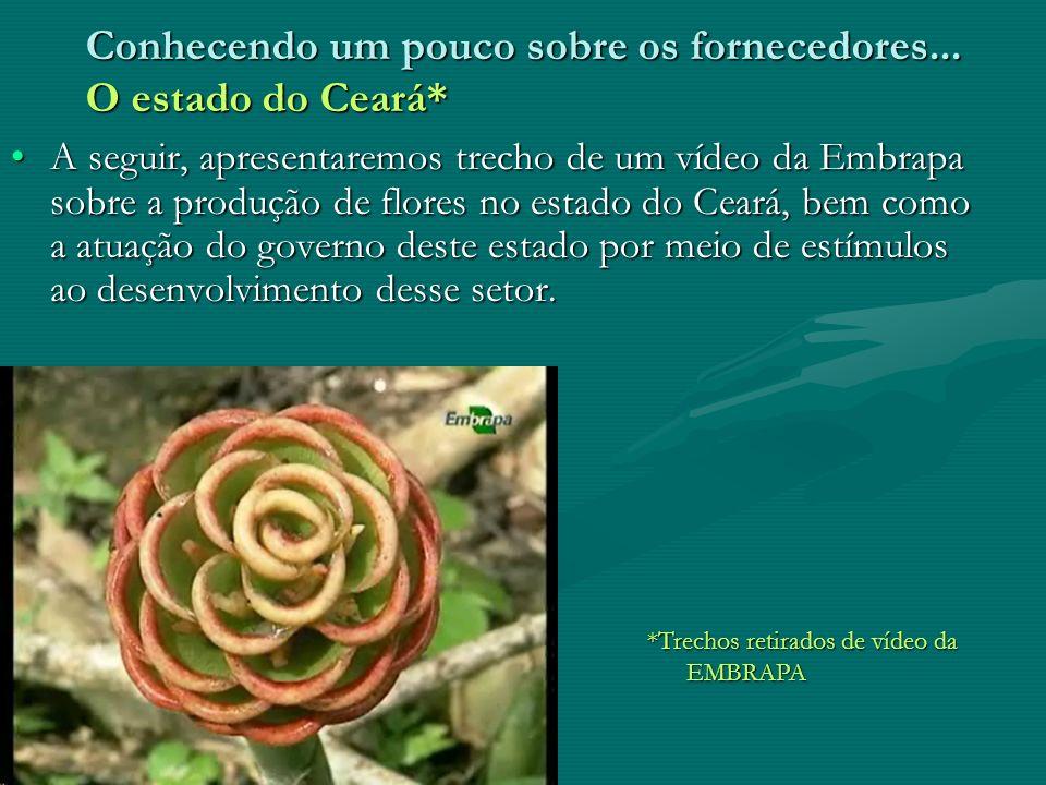 Fornecedor – Empresa - Clientes Os pedidos aos fornecedores são realizados com antecedência, visto que os produtores localizam- se nos estados de São