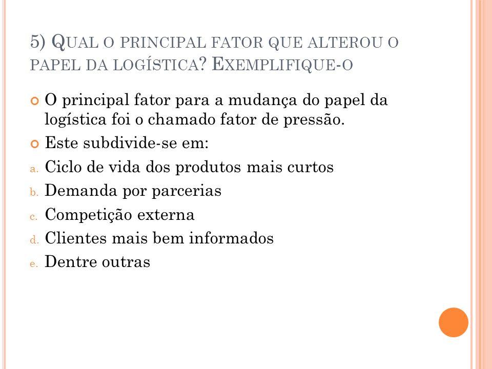 O principal fator para a mudança do papel da logística foi o chamado fator de pressão.