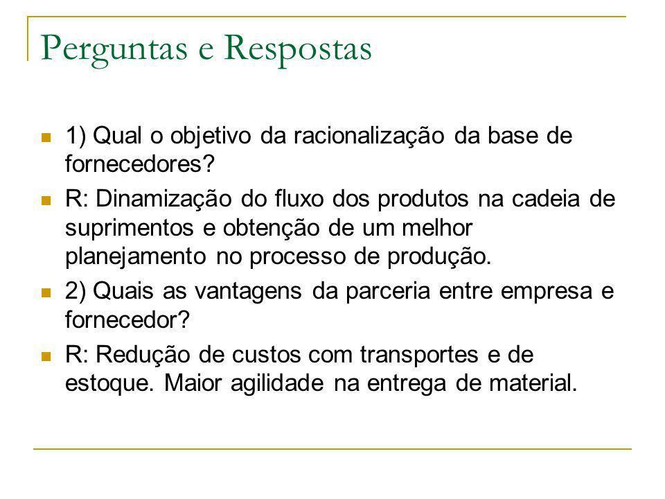 Perguntas e Respostas 1) Qual o objetivo da racionalização da base de fornecedores? R: Dinamização do fluxo dos produtos na cadeia de suprimentos e ob