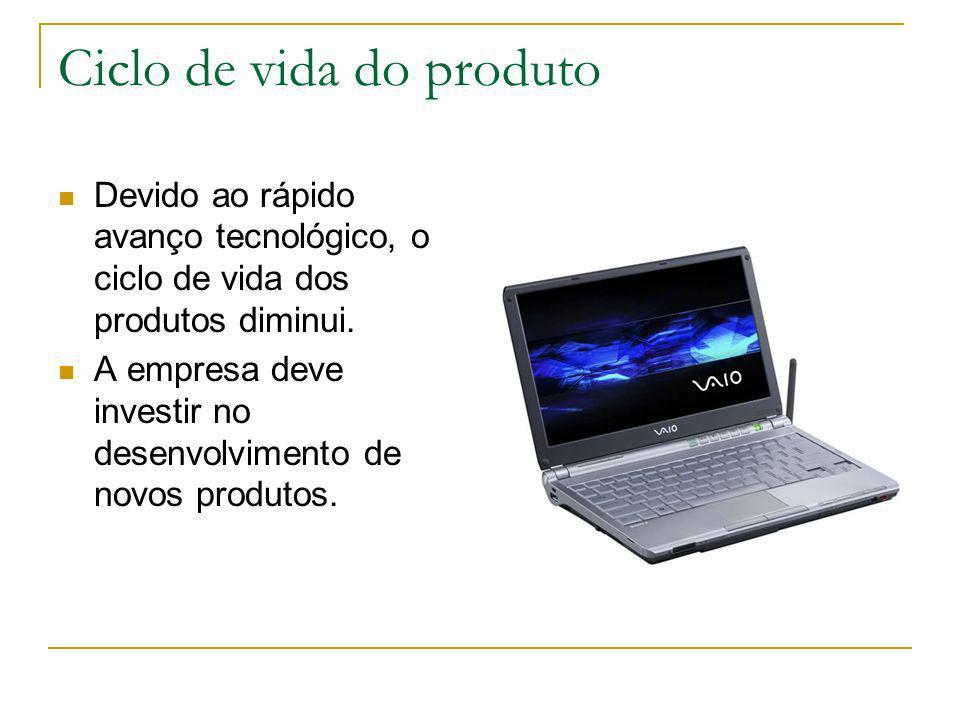 Ciclo de vida do produto Devido ao rápido avanço tecnológico, o ciclo de vida dos produtos diminui. A empresa deve investir no desenvolvimento de novo