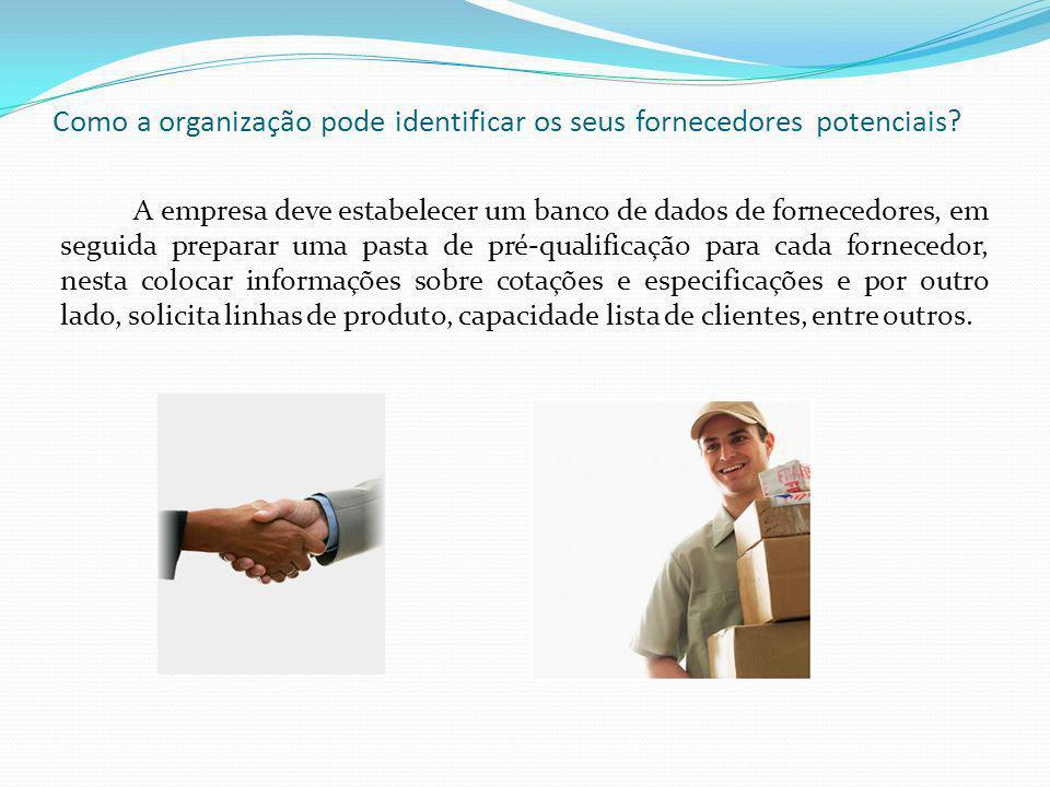 Como a organização pode identificar os seus fornecedores potenciais.