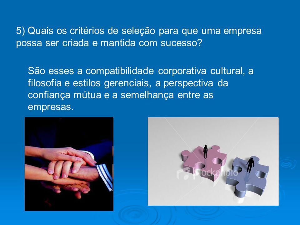 5) Quais os critérios de seleção para que uma empresa possa ser criada e mantida com sucesso? São esses a compatibilidade corporativa cultural, a filo
