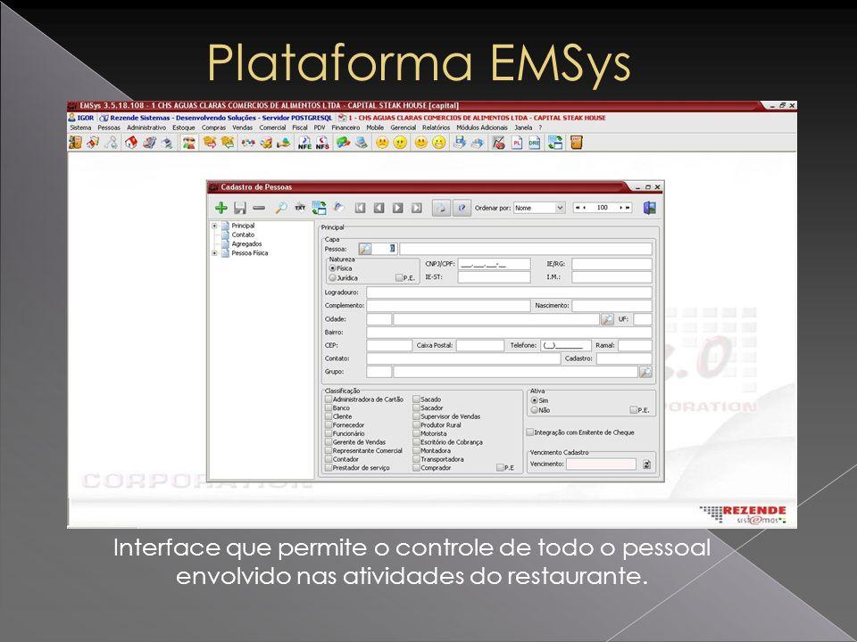 Interface que permite o controle de todo o pessoal envolvido nas atividades do restaurante.