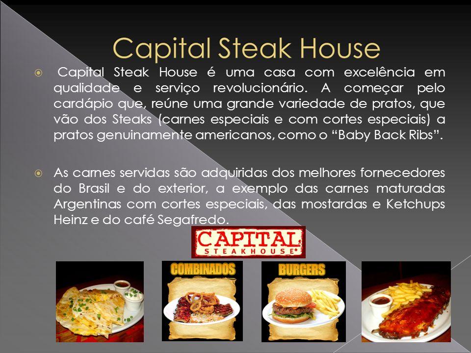 Capital Steak House é uma casa com excelência em qualidade e serviço revolucionário. A começar pelo cardápio que, reúne uma grande variedade de pratos