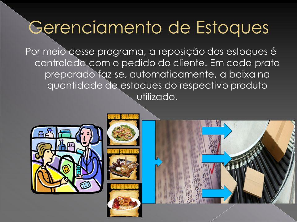 Por meio desse programa, a reposição dos estoques é controlada com o pedido do cliente. Em cada prato preparado faz-se, automaticamente, a baixa na qu