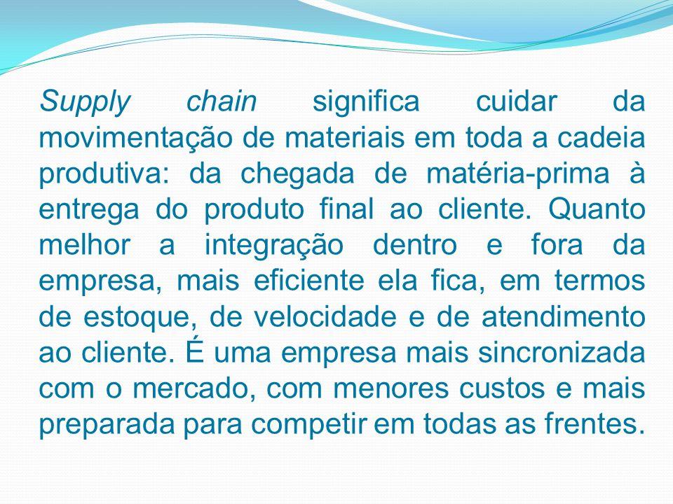 Supply chain significa cuidar da movimentação de materiais em toda a cadeia produtiva: da chegada de matéria-prima à entrega do produto final ao cliente.