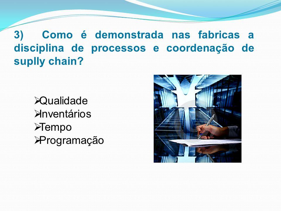 3) Como é demonstrada nas fabricas a disciplina de processos e coordenação de suplly chain.