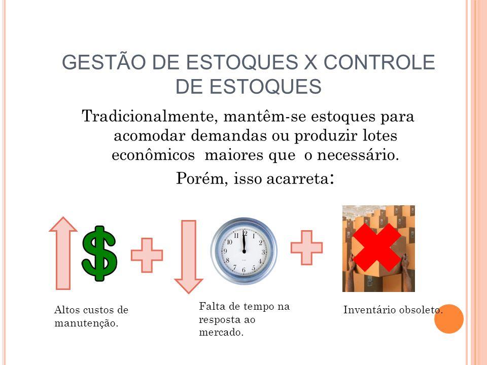 GESTÃO DE ESTOQUES X CONTROLE DE ESTOQUES Tradicionalmente, mantêm-se estoques para acomodar demandas ou produzir lotes econômicos maiores que o neces