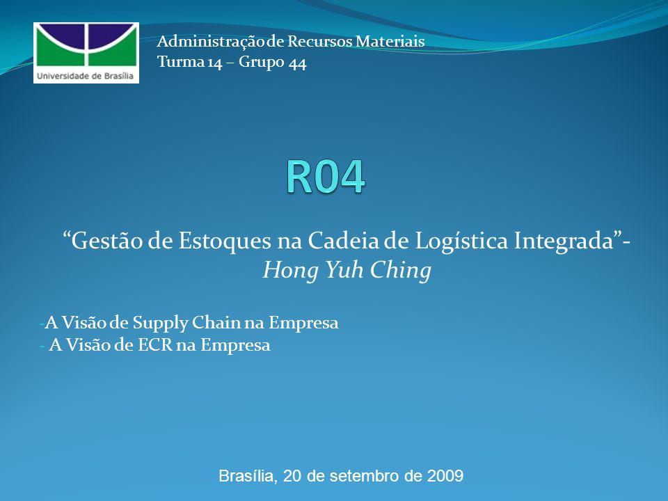 - A Visão de Supply Chain na Empresa - A Visão de ECR na Empresa Administração de Recursos Materiais Turma 14 – Grupo 44 Gestão de Estoques na Cadeia