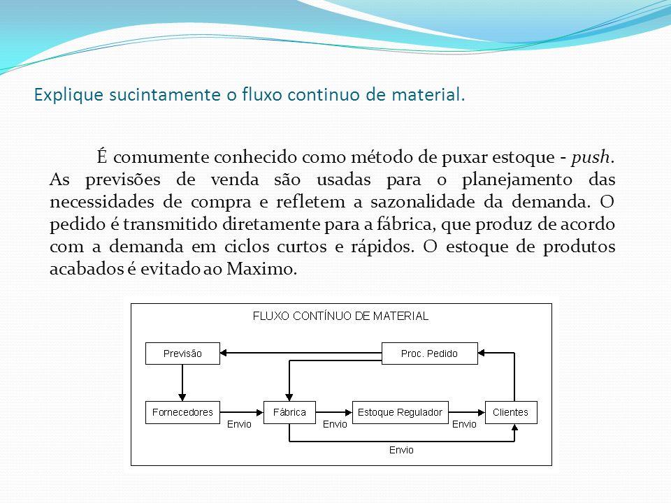 Explique sucintamente o fluxo continuo de material. É comumente conhecido como método de puxar estoque - push. As previsões de venda são usadas para o