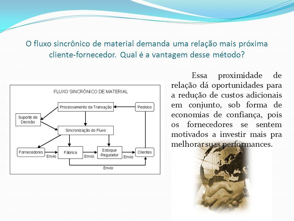 O fluxo sincrônico de material demanda uma relação mais próxima cliente-fornecedor. Qual é a vantagem desse método? Essa proximidade de relação dá opo