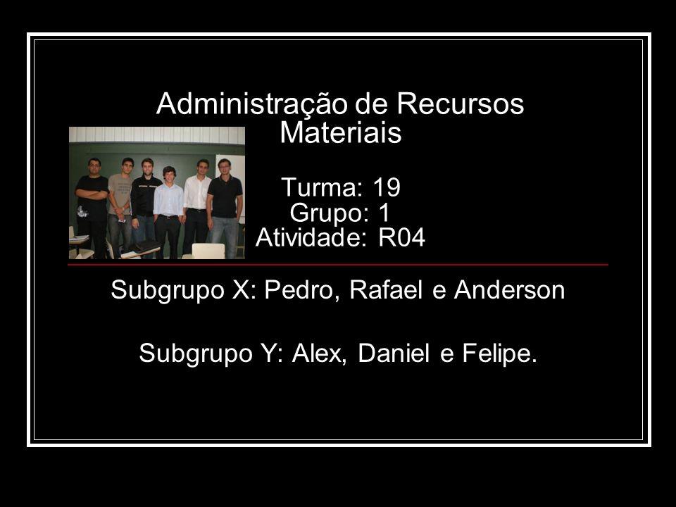 Administração de Recursos Materiais Turma: 19 Grupo: 1 Atividade: R04 Subgrupo X: Pedro, Rafael e Anderson Subgrupo Y: Alex, Daniel e Felipe.