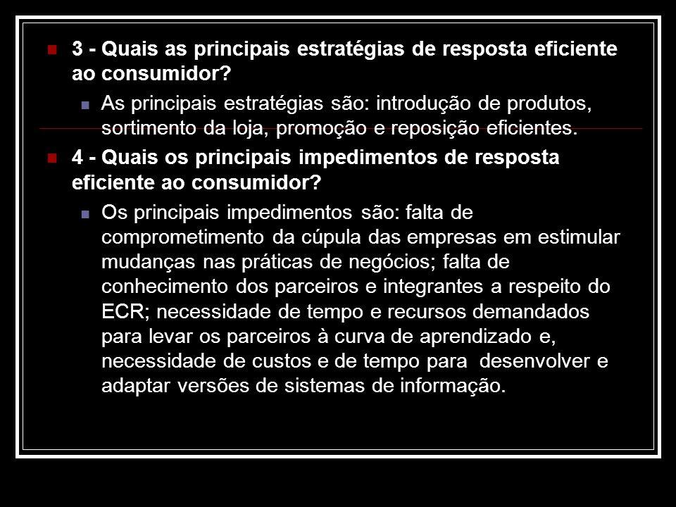 3 - Quais as principais estratégias de resposta eficiente ao consumidor? As principais estratégias são: introdução de produtos, sortimento da loja, pr