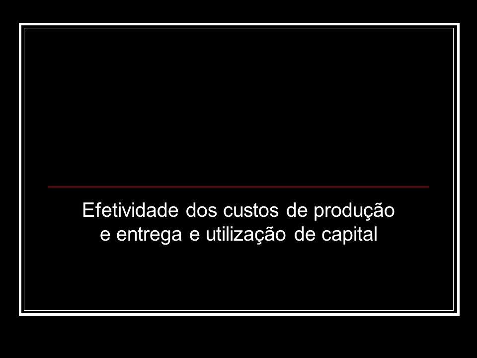 Efetividade dos custos de produção e entrega e utilização de capital