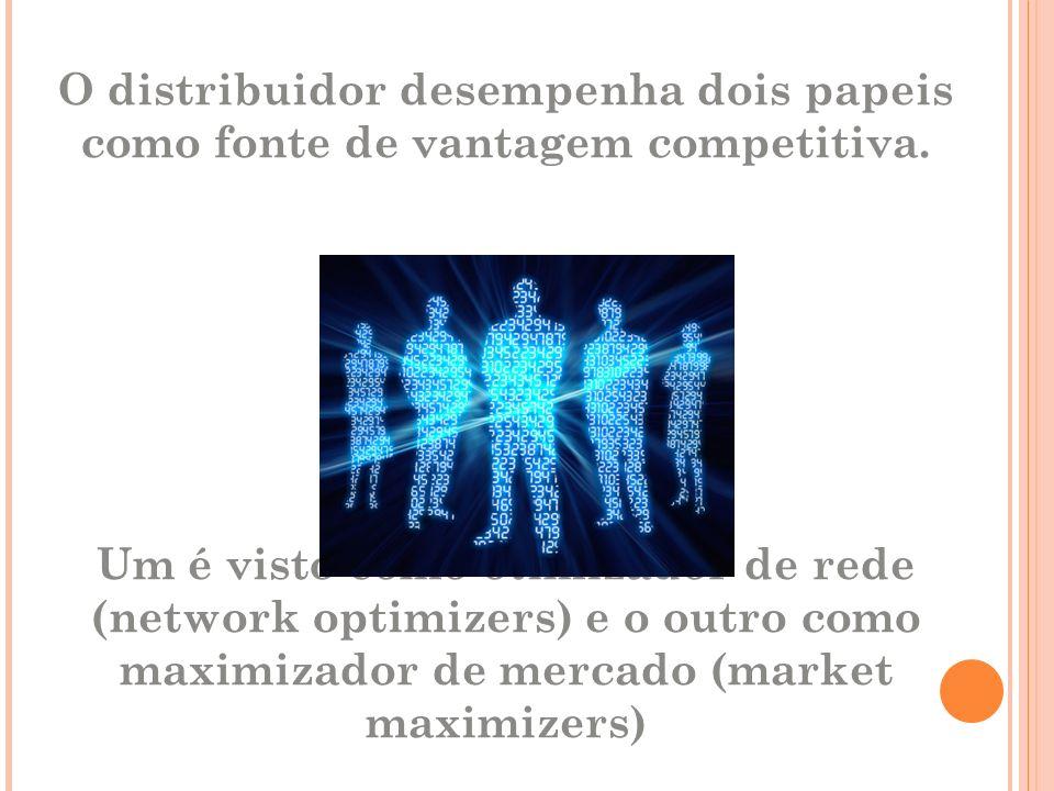 O distribuidor desempenha dois papeis como fonte de vantagem competitiva. Um é visto como otimizador de rede (network optimizers) e o outro como maxim