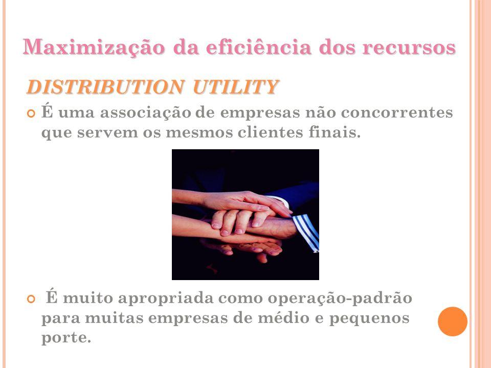 Maximização da eficiência dos recursos DISTRIBUTION UTILITY É uma associação de empresas não concorrentes que servem os mesmos clientes finais. É muit