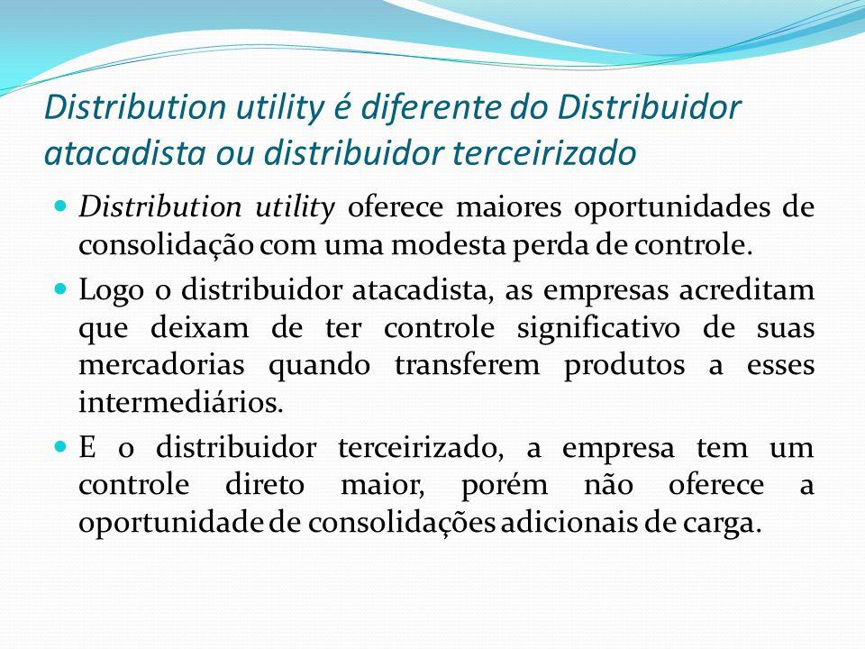 Distribution utility é diferente do Distribuidor atacadista ou distribuidor terceirizado Distribution utility oferece maiores oportunidades de consoli