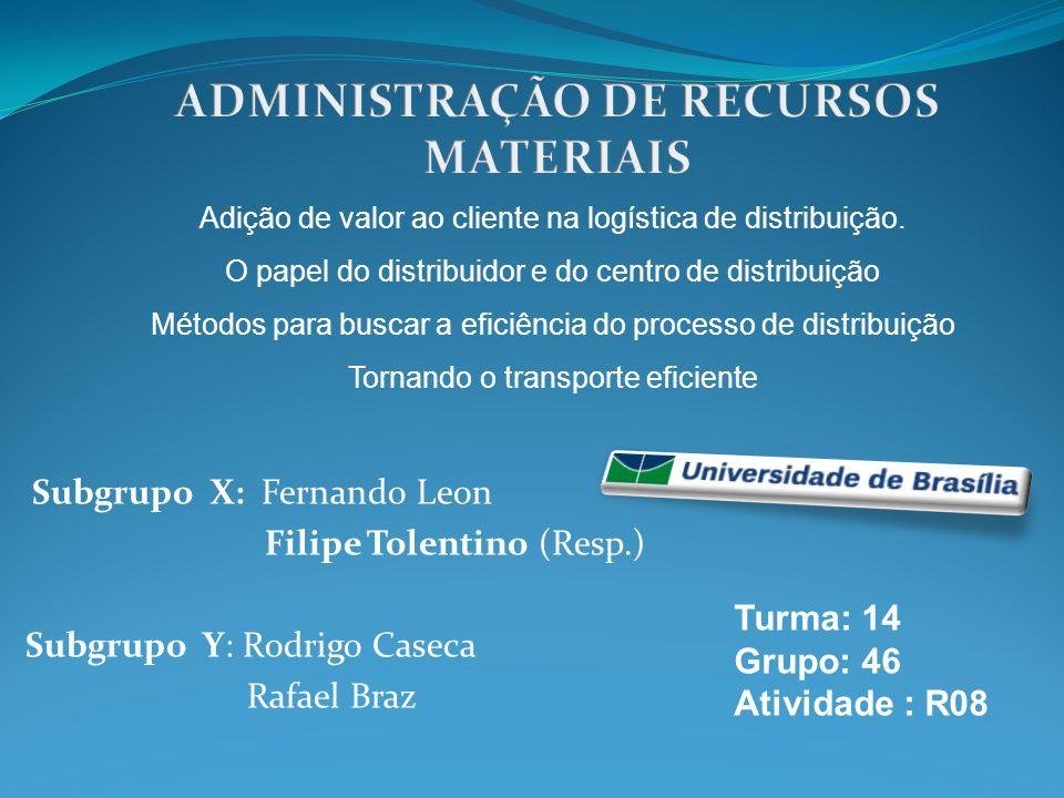 Subgrupo X: Fernando Leon Filipe Tolentino (Resp.) Subgrupo Y: Rodrigo Caseca Rafael Braz Turma: 14 Grupo: 46 Atividade : R08 Adição de valor ao clien