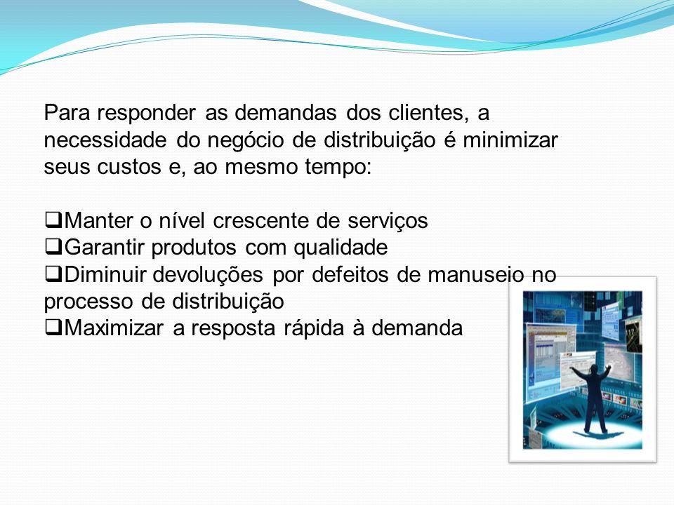 Para responder as demandas dos clientes, a necessidade do negócio de distribuição é minimizar seus custos e, ao mesmo tempo: Manter o nível crescente
