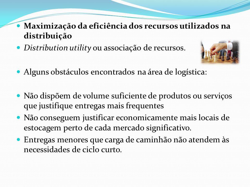 Maximização da eficiência dos recursos utilizados na distribuição Distribution utility ou associação de recursos. Alguns obstáculos encontrados na áre