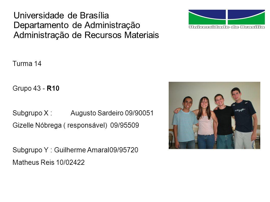 Universidade de Brasília Departamento de Administração Administração de Recursos Materiais Turma 14 Grupo 43 - R10 Subgrupo X :Augusto Sardeiro 09/900