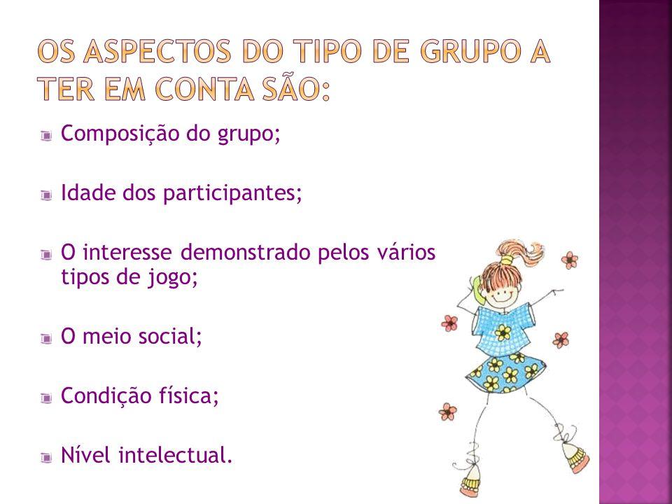 Composição do grupo; Idade dos participantes; O interesse demonstrado pelos vários tipos de jogo; O meio social; Condição física; Nível intelectual.