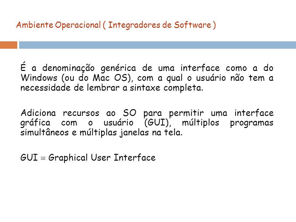 Ambiente Operacional ( Integradores de Software ) É a denominação genérica de uma interface como a do Windows (ou do Mac OS), com a qual o usuário não