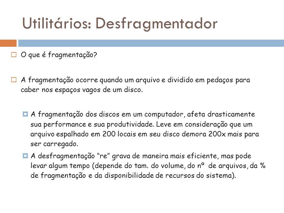 O que é fragmentação? A fragmentação ocorre quando um arquivo e dividido em pedaços para caber nos espaços vagos de um disco. A fragmentação dos disco