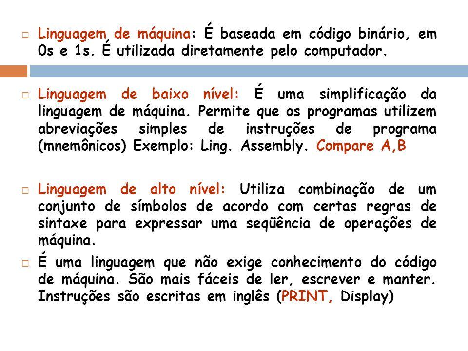Linguagem de máquina: É baseada em código binário, em 0s e 1s. É utilizada diretamente pelo computador. Linguagem de baixo nível: É uma simplificação