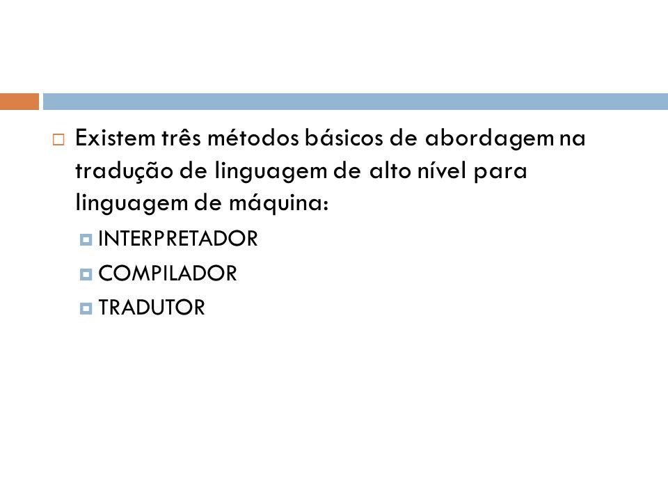 Existem três métodos básicos de abordagem na tradução de linguagem de alto nível para linguagem de máquina: INTERPRETADOR COMPILADOR TRADUTOR