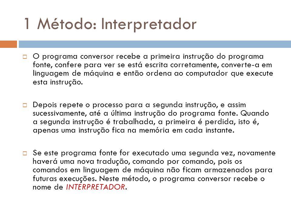 1 Método: Interpretador O programa conversor recebe a primeira instrução do programa fonte, confere para ver se está escrita corretamente, converte-a