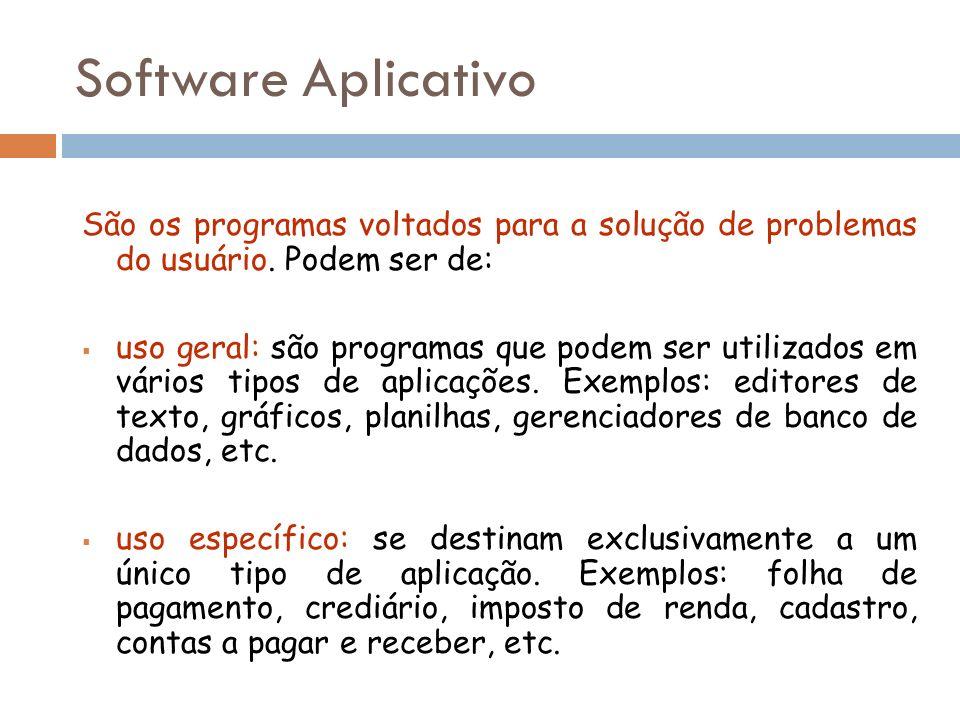 São os programas voltados para a solução de problemas do usuário. Podem ser de: uso geral: são programas que podem ser utilizados em vários tipos de a