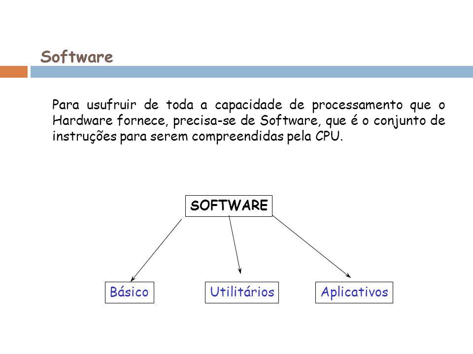 Software Para usufruir de toda a capacidade de processamento que o Hardware fornece, precisa-se de Software, que é o conjunto de instruções para serem