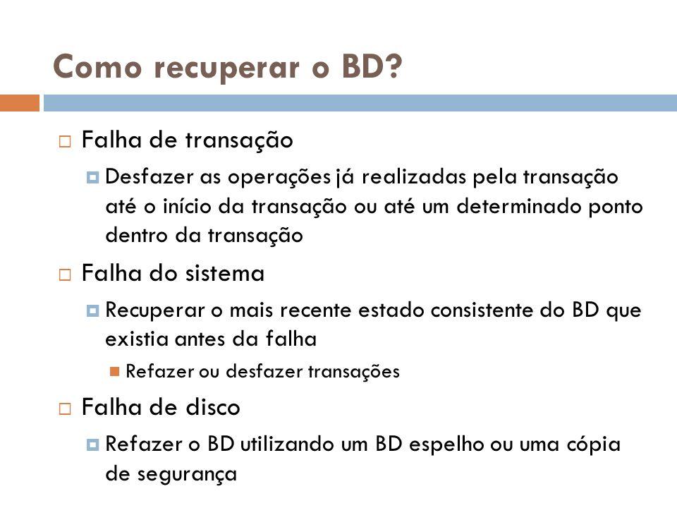 Como recuperar o BD? Falha de transação Desfazer as operações já realizadas pela transação até o início da transação ou até um determinado ponto dentr