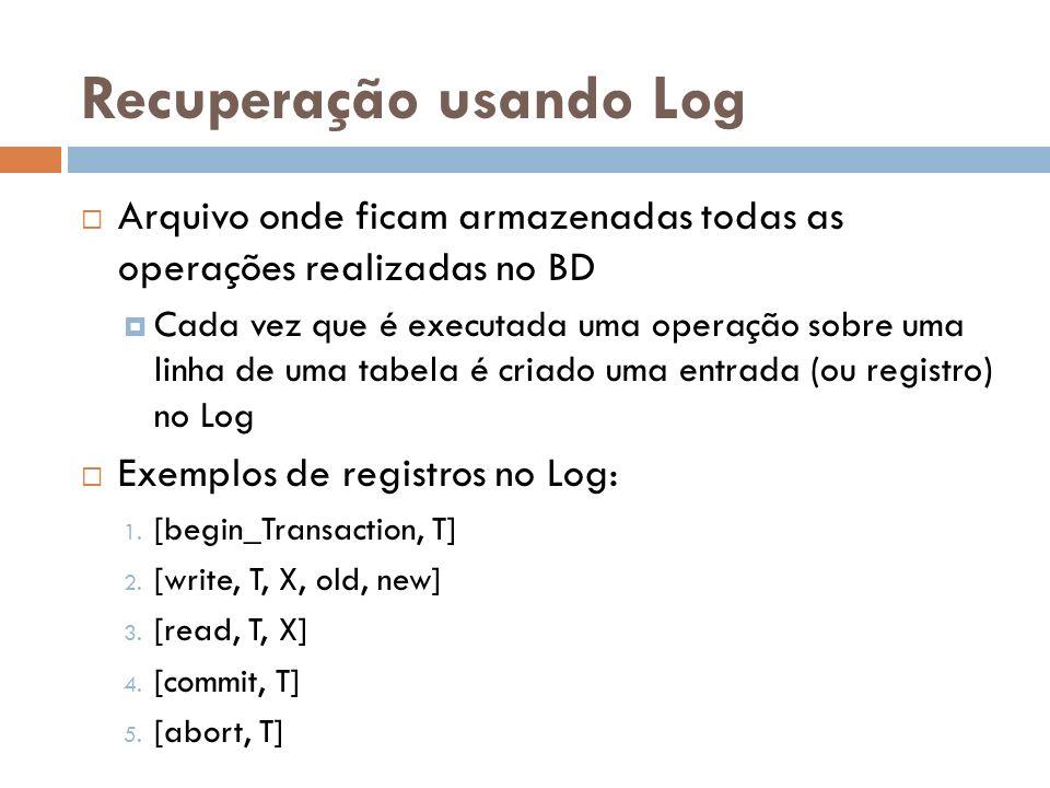 Recuperação usando Log Arquivo onde ficam armazenadas todas as operações realizadas no BD Cada vez que é executada uma operação sobre uma linha de uma