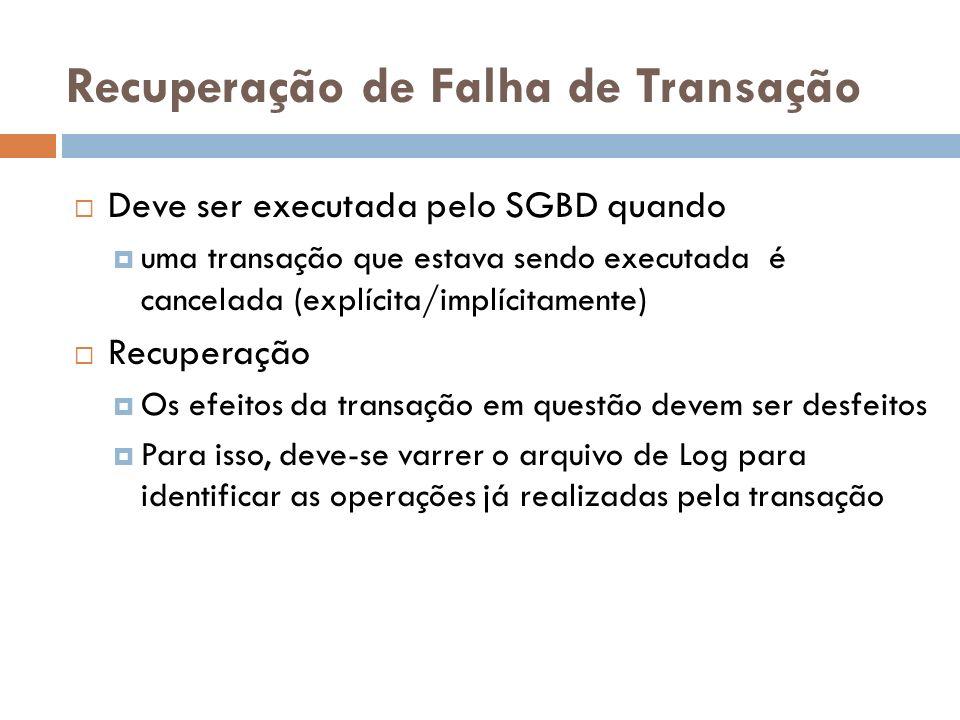 Recuperação de Falha de Transação Deve ser executada pelo SGBD quando uma transação que estava sendo executada é cancelada (explícita/implícitamente)