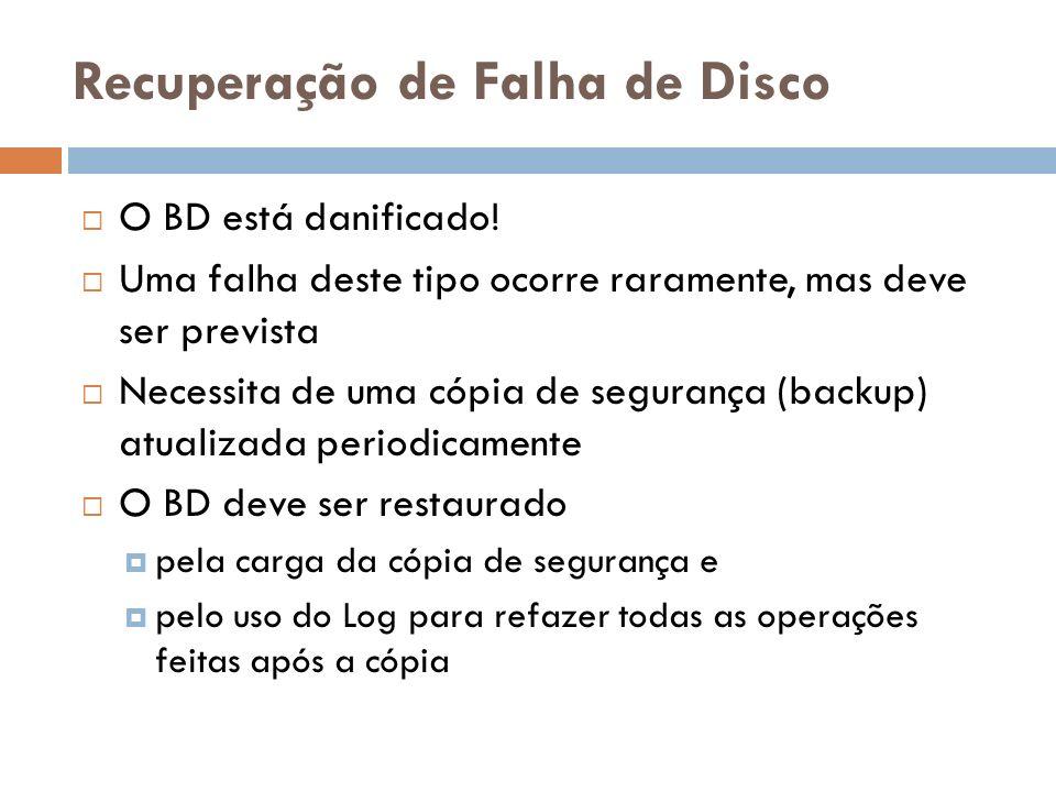 Recuperação de Falha de Disco O BD está danificado! Uma falha deste tipo ocorre raramente, mas deve ser prevista Necessita de uma cópia de segurança (