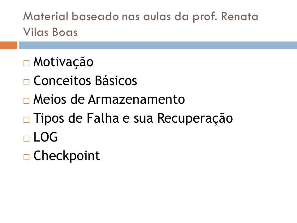 Material baseado nas aulas da prof. Renata Vilas Boas Motivação Conceitos Básicos Meios de Armazenamento Tipos de Falha e sua Recuperação LOG Checkpoi