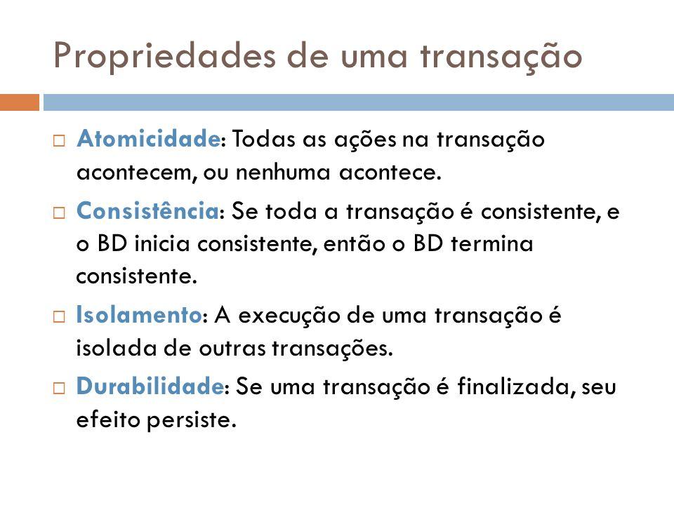 Recuperação de Falha de Transação Deve ser executada pelo SGBD quando uma transação que estava sendo executada é cancelada (explícita/implícitamente) Recuperação Os efeitos da transação em questão devem ser desfeitos Para isso, deve-se varrer o arquivo de Log para identificar as operações já realizadas pela transação