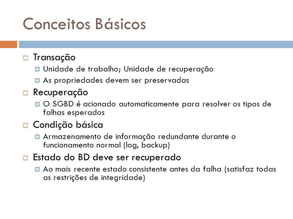 Conceitos Básicos Transação Unidade de trabalho; Unidade de recuperação As propriedades devem ser preservadas Recuperação O SGBD é acionado automatica