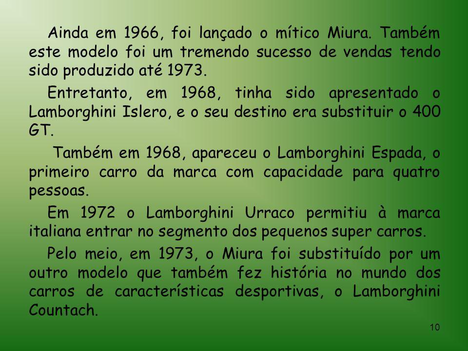 9 A companhia da Lamborghini foi fundada em 1963 por Ferruccio Lamborghini. Ferruccio nasceu em 1916 e morreu em 1993. A Lamborghini é uma fabricante